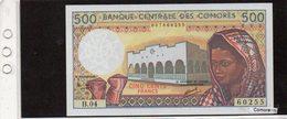 Banconota Comores, Mai Circolata, 500 Francs - 1986 - Comoren
