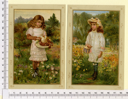 2 CARTES CHROMOS LITHOGRAPHIES....13.5 / 9 Cm   ..PETITES FILLES AU JARDIN - Vieux Papiers