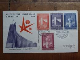 VATICANO - F.D.C. Expo Bruxelles 1958 + Spese Postali - FDC