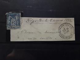Cachet BELFORT FAUBOURG DES ANCETRES, Haut Rhin,  18 Avril 1882, Type SAGE 15 C Bleu, No 90 Sur Fragment TB - 1876-1898 Sage (Type II)