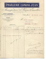Facture 1915 / 93 AUBERVILLIERS PARIS / Emaillerie EDMOND JEAN / Manufacture Plaques Emaillées - 1900 – 1949