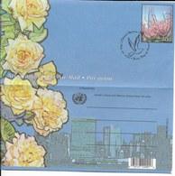 Onu,united Nations, Nations Unies,new York, Entier Postal 2001 , Aérogramme Fdc Rose Jaune, Cerisiers En Fleurs, Colombe - New-York - Siège De L'ONU