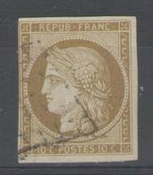 N°1b Oblitéré (bistre-verdâtre), Signé SCHELLER          - Cote 500€ - - 1849-1850 Cérès