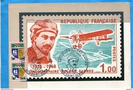 Marcophlie-carte Postale-illustrée Cinquantenaire Roland GARROS-cad Exposition Saint Denis-2 Stamps 346b St Denis6 F Cfa - Lettres & Documents