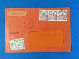 1982 BUSTA RACCOMANDATA CETRARO COSENZA CON STRISCIA DI 3 CASTELLO 300 LIRE - 6. 1946-.. Republic