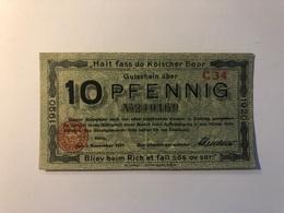 Allemagne Notgeld Allemagne Koln 10 Pfennig - [ 3] 1918-1933 : République De Weimar