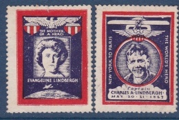 Etats Unis - Vignette Lindberg New-York - Paris 1927 - Neuf * - TB - Vignetten (Erinnophilie)