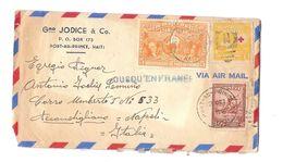 HAITI AIR MAIL COVER TO ITALY - POSTMARK '' JUSQU'EN FRANCE '' - STAMPS 1950 - Haiti