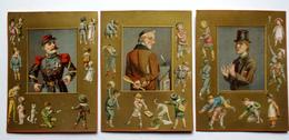 3 CARTES  CHROMOS LITHOGRAPHIES DORÉES......14 /11 Cm  .MAÎTRE D'ÉCOLE ET MILITAIRE..JEUX D'ENFANTS;;;RECREATION - Vieux Papiers