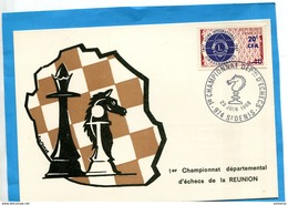 Réunion-carte Postale-illustrée-1er Championnat D'échecs-Marcophilie-cad-23-06-1968-+résutats Au Dos- Stamps-N°374 Lions - La Réunion
