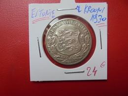 ESTONIE 2 KROONI 1930 ARGENT - Estonie