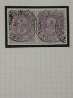 COB N°36 (paire) Oblitération Thimister-Clermont 1885 - 1869-1883 Léopold II
