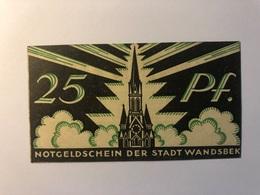 Allemagne Notgeld Allemagne Wandsbek 25 Pfennig - [ 3] 1918-1933 : République De Weimar