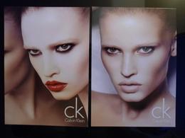 Calvin Klein Beauty And Cosmetique Lot De 2 Cartes Postales - Modernes (à Partir De 1961)