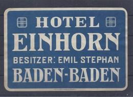 BADEN - BADEN HOTEL EINHORN BESITZER EMIL STEPHAN KOFFERAUFKLEBER FOR SUITCASE LABEL ETIQUETTE LUGGAGE VALISE - Dépliants Touristiques