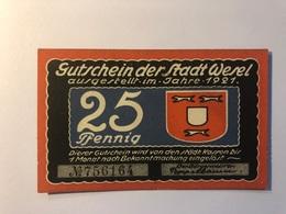 Allemagne Notgeld Allemagne Wesel 25 Pfennig - [ 3] 1918-1933 : République De Weimar
