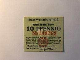 Allemagne Notgeld Allemagne Westerburg 10 Pfennig - [ 3] 1918-1933 : République De Weimar