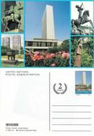 Onu,united Nations, Nations Unies, New York , Entier Postal 2002 , +2 Cents, Carte Neuve, 4 Statues - New-York - Siège De L'ONU