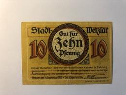 Allemagne Notgeld Allemagne Wetzlar 10 Pfennig - [ 3] 1918-1933 : République De Weimar