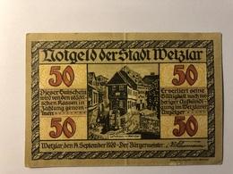 Allemagne Notgeld Allemagne Wetzlar 50 Pfennig - [ 3] 1918-1933 : République De Weimar