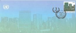 Onu,united Nations, Nations Unies, New York , Entier Postal  2002, Env Fdc, + 3 Cents, Manhattan, 240x105 - New-York - Siège De L'ONU