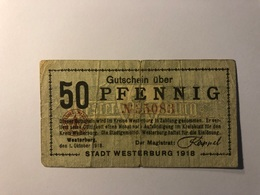 Allemagne Notgeld Allemagne Westerburg 50 Pfennig - [ 3] 1918-1933 : République De Weimar