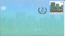 Onu,united Nations, Nations Unies, New York , Entier Postal  2002, Env Neuve, + 3 Cents, Manhattan, - New-York - Siège De L'ONU