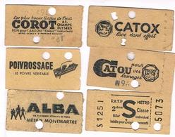 Titre Transport Métro PARIS 6 Tickets S Métropolitain Dont 5 Avec  Pub Au Verso - Métro