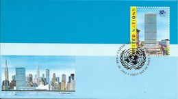 Onu,united Nations, Nations Unies, New York , Entier Postal  2003, Env Fdc, Manhattan, This Is The United Nations Illu - New-York - Siège De L'ONU
