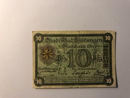 Allemagne Notgeld Allemagne Wildungen 10 Pfennig - [ 3] 1918-1933 : République De Weimar