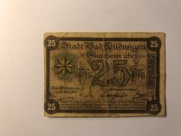 Allemagne Notgeld Allemagne Wildungen 25 Pfennig - [ 3] 1918-1933 : République De Weimar