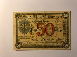 Allemagne Notgeld Allemagne Wildungen 50 Pfennig - [ 3] 1918-1933 : République De Weimar