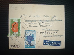 LETTRE TP RAISIN 25P + TP MANDARINES 15P OBL.23 XI 55 BEYROUTH RP - Liban