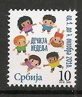 SERBIA 2018 , CHILDREN WEEK,SURCHARGE,ADITIONAL STAMP,, MNH - Serbie