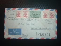 LETTRE TP 15P + TP CEDRE 2 Paires OBL.7 IV 52  DJOUNIE - Liban