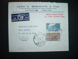 LETTRE TP 25P + TP 10P OBL.3 V 51? BEYROUTH RP + LEON N. BERCOVITZ & FILS TRANSPORTS - Liban