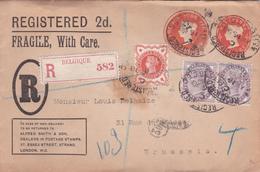 """Entier Postal - Lettre Recommandé 1898 - Postage And Inland Revenue- Avec Cachet De Cire """"Alfred Smith"""" - Entiers Postaux"""