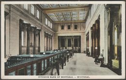 Interior, Bank Of Montreal, Montreal, Quebec, C.1910 - International Fine Art Co Postcard - Montreal