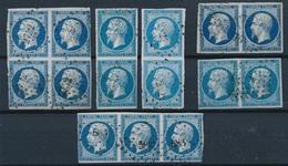 N-231: FRANCE: Lot Avec N°14A (bloc De 4 Et Bande De 3 2ème Choix, 4 Paires  1er Choix) - 1853-1860 Napoleon III