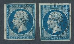 N-232: FRANCE: Lot Avec N°14Ad (2, Dont 1 Court)  Bleu Sur Vert - 1853-1860 Napoleon III