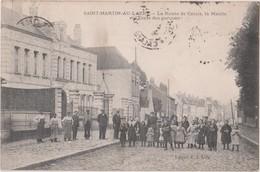 SAINT-MARTIN-AU-LAERT - LA ROUTE DE CALAIS - LA MAIRIE ET L'ÉCOLE DES GARÇONS - Saint Omer