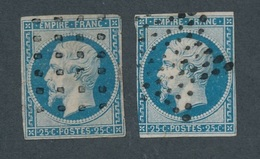 N-237: FRANCE: Lot Avec N°15 Obl Gros Points Et étoile (2ème Choix à Défectueux, Courts Et Clairs)) - 1853-1860 Napoleon III