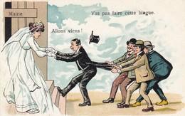 """15. VILLEDIEU (A DESTINATION DE). CPA. HUMOUR ET MARIAGE. TIRAILLEMENT """" VAS PAS FAIRE CETTE BLAGUE"""" . - Humour"""