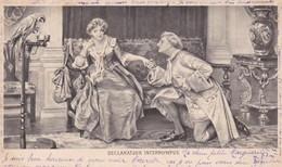 """CARTE FANTAISIE. CPA. HUMOUR . LE COUP DU PERROQUET """" DÉCLARATION INTERROMPUE"""" . ANNEE 1901 - Humour"""
