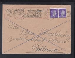 Dt. Reich Dienstpost Ukraine Brief 1943 Berlin Nach Poltava - Besetzungen 1938-45