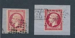 N-241: FRANCE: Lot Avec N°17A Obl Percé En Ligne Sur Fragment-17Aobl Sur Fragment - 1853-1860 Napoleon III