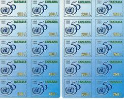 TANZANIA, 1995, Stampcard 1 + 2, UNO 50 Years - Tanzanie (1964-...)