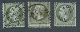N-245: FRANCE: Lot Avec N°19 Obl (3)  Obl Typo(court En Bas) - Piquage à Cheval (clair Important) - Petit Format - 1853-1860 Napoleon III