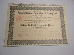 INTERNATIONAL INVESTMENT COMPANY (1929) - Non Classés
