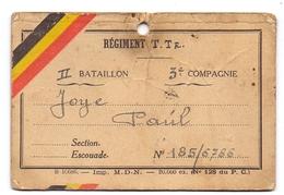 Militair Oorlog - Belgisch Leger - Etiket Voor Koffer - Regiment T. Tr - Joye Paul - Documents